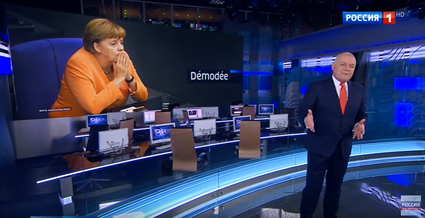 Russian state TV attacks Angela Merkel as 'out of fashion'
