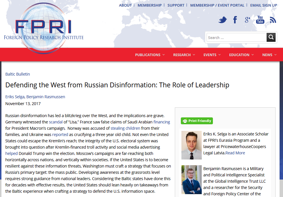 FPRI: Defending the West from Russian Disinformation: The Role of Leadership