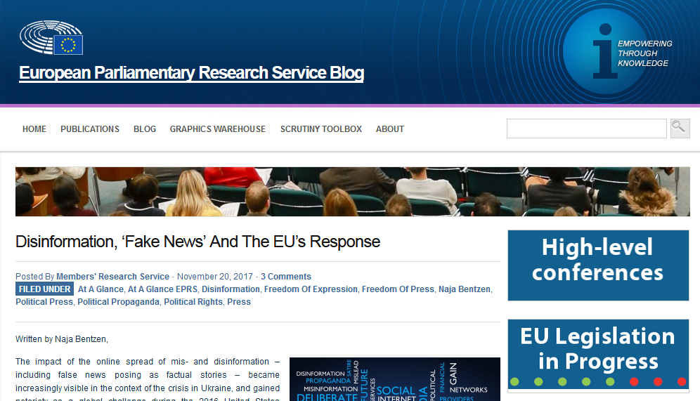 EP Think Tank: Disinformation, 'fake news' and the EU's response