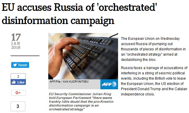 AFP: EU accuses Russia of 'orchestrated' disinformation campaign