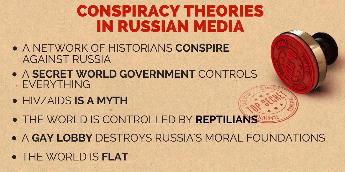 A study showed that references in Russian media to a select group of popular conspiracy theories are on average six to nine times more frequent now than they were in 2011.