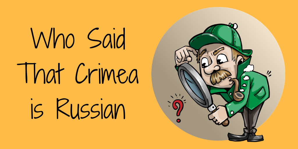 Someone Said That the Referendum in Crimea was Legitimate