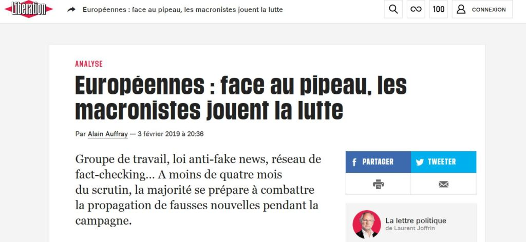 Libération: Européennes : face au pipeau, les macronistes jouent la lutte