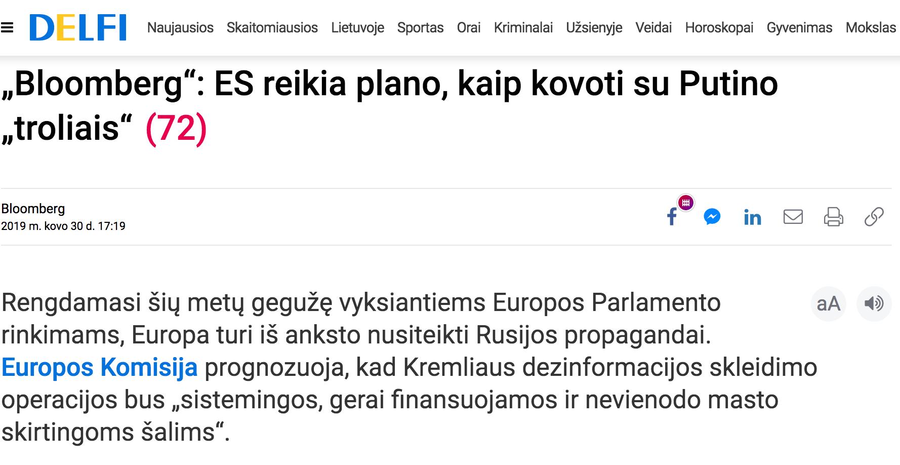 """Delfi: ES reikia plano, kaip kovoti su Putino """"troliais"""""""