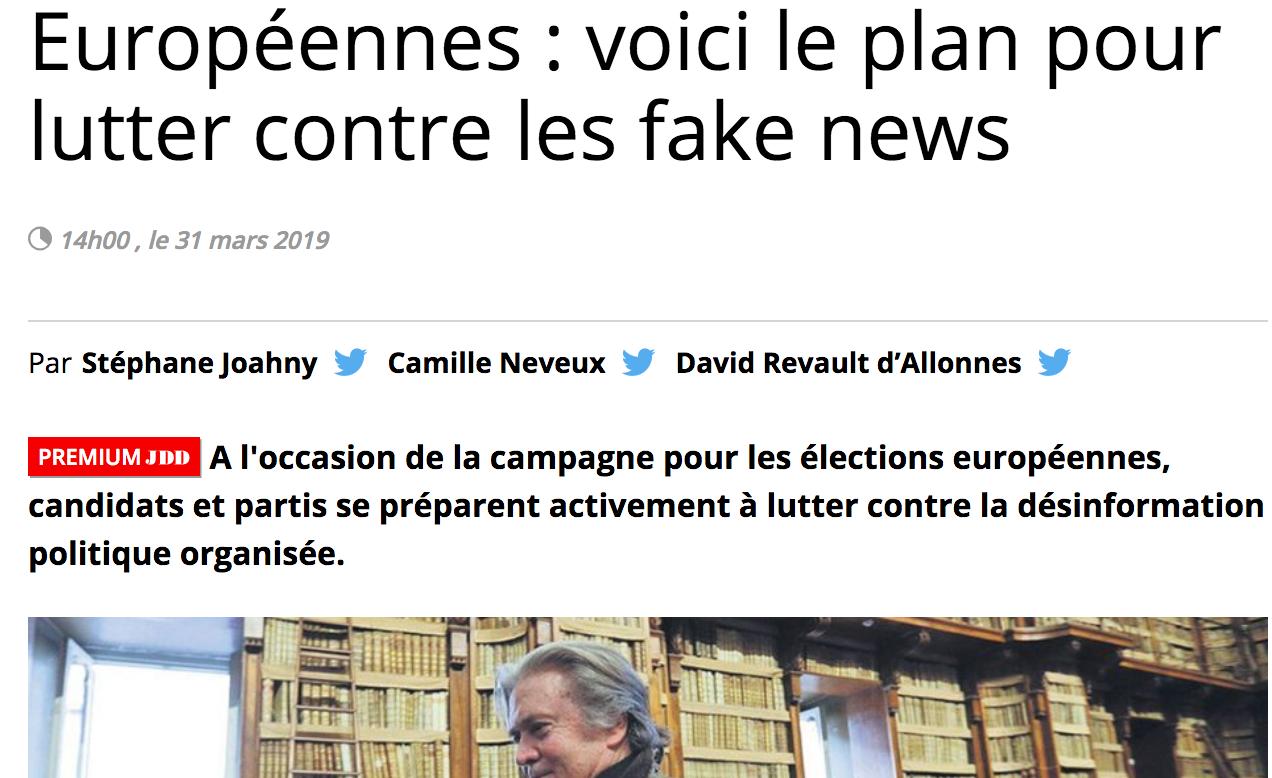 Le Journal du Dimanche: Européennes: voici le plan pour lutter contre les fake news