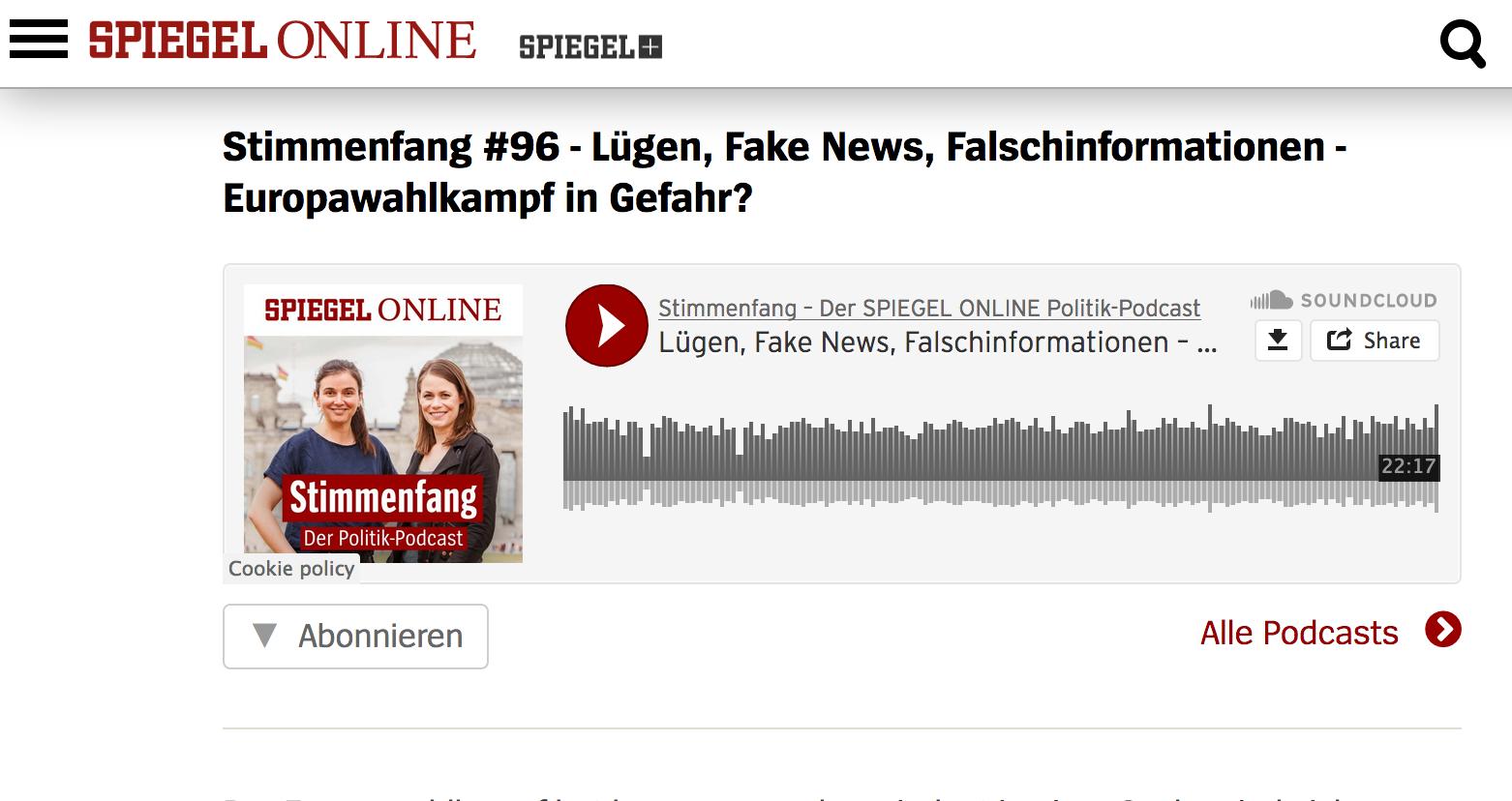 Der Spiegel: Lügen, Fake News, Falschinformationen – Europawahlkampf in Gefahr?