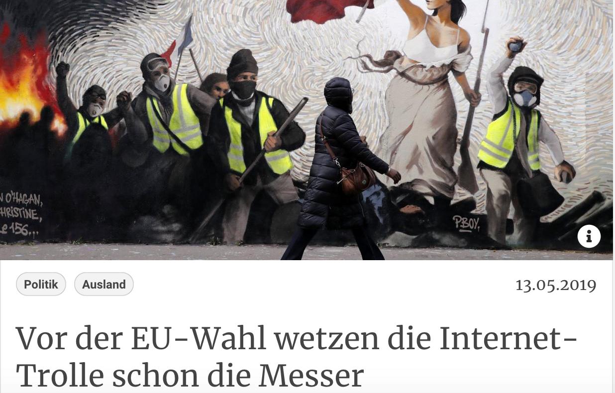 Kurier: Vor der EU-Wahl wetzen die Internet-Trolle schon die Messer