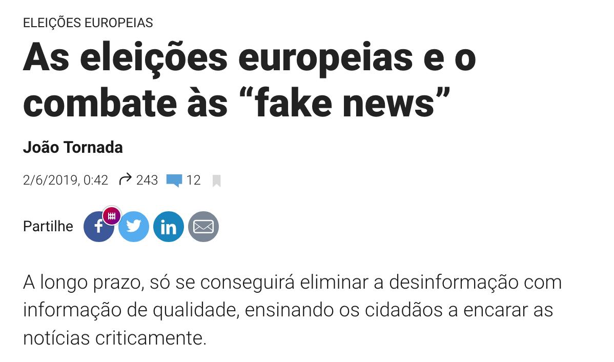 """Observador: As eleições europeias e o combate às """"fake news"""""""