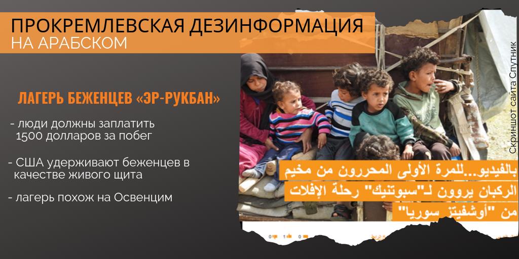 Манипуляции на «Спутнике» и RT на арабском: «Эр-Рукбан» как «нацистский лагерь»