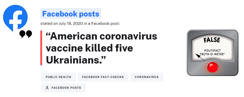 Politifact: There's no evidence that a US COVID-19 vaccine killed 5 Ukrainians